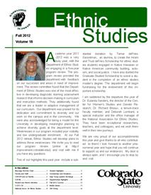 Cover image of the Ethnic Studies Newsletter for 20012